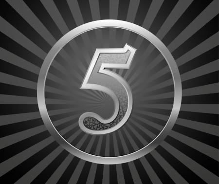 five element: Decorative element with number Illustration