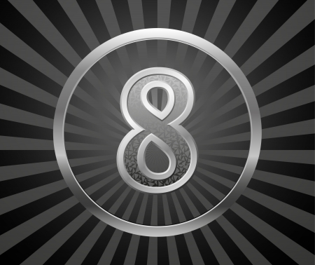 7 9: Decorative element with number Illustration