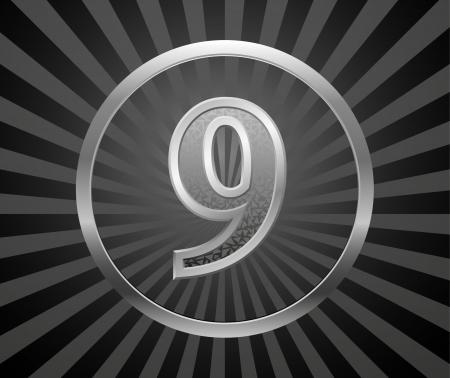 0 9: Decorative element with number Illustration