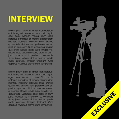 film shooting: Cameraman at work silhouettes with interview page