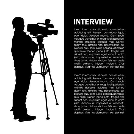 camera operator: Cameraman at work silhouettes with interview page