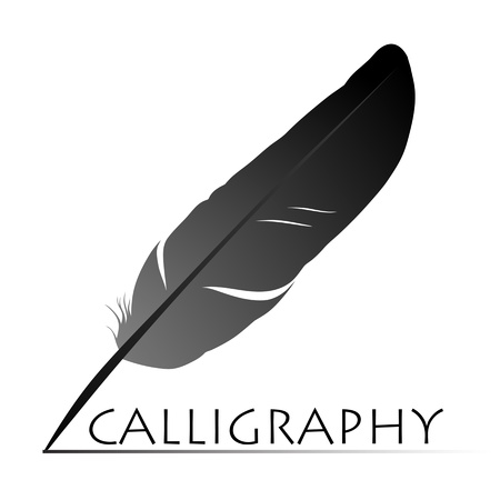 ink art: Feather calligraphic pen  background Illustration
