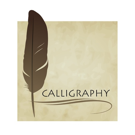 feather quill: Feather calligraphic pen  background Illustration
