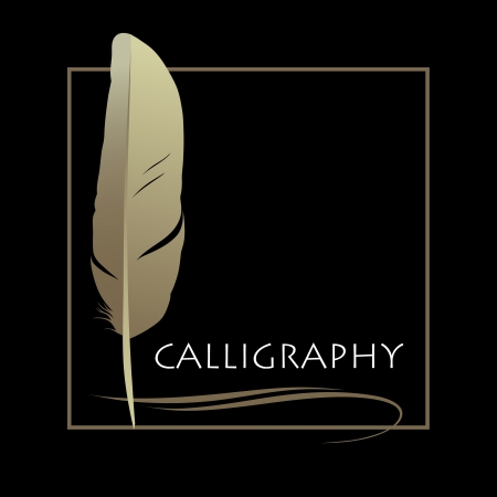 quill pen: Feather calligraphic pen  background Illustration