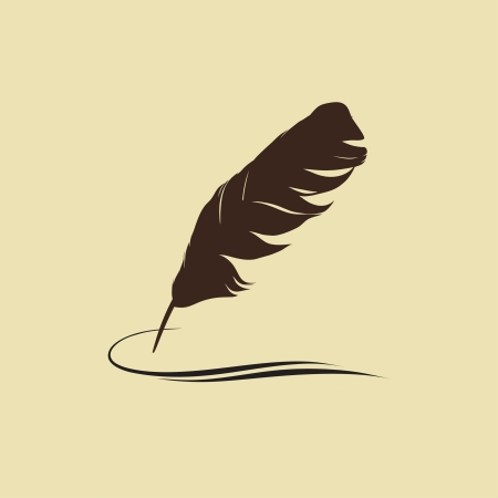 Feather calligraphic pen background Vector