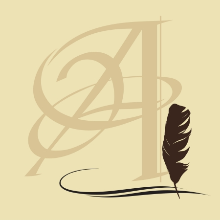 writing lines: Feather calligraphic pen background with letter
