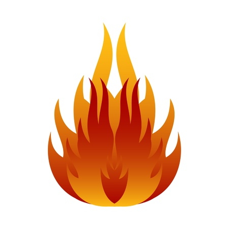 inferno: Symbols red fire on white background vector