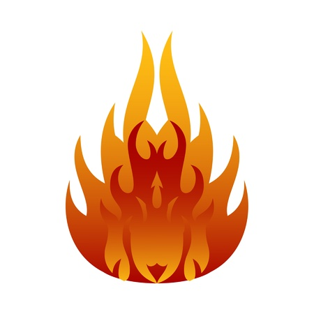 orange inferno: Symbols red fire on white background vector