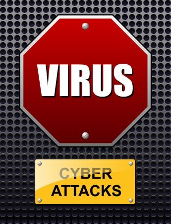 señal de transito: Ciber ataques signo vector