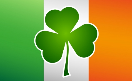 patricks: Clover leaf on flag element background for happy St. Patricks Day Illustration