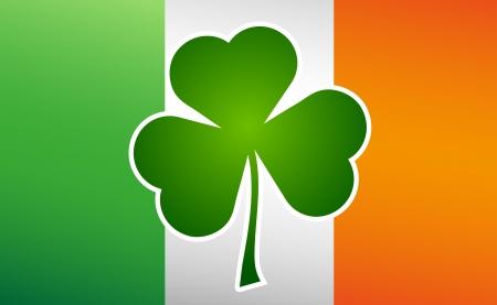 st patricks day: Clover leaf on flag element background for happy St. Patricks Day Illustration