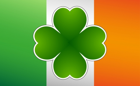 green beer: Clover leaf on flag element background for happy St. Patricks Day Illustration