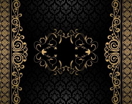 gold leaf: Vintage vector background Illustration