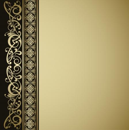 gold banner: Vintage vector background Illustration