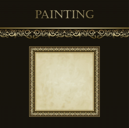 luxurious seamless wallpaper: Vintage vector background in the form picture frame for presentation