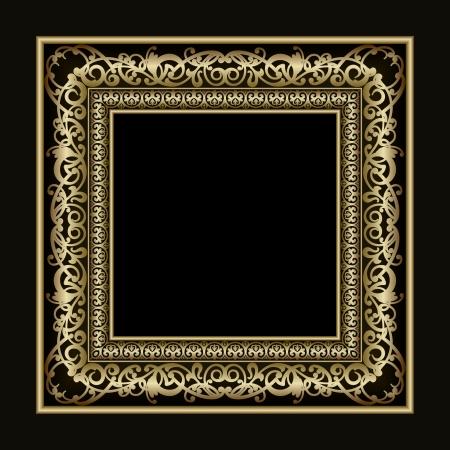 barroco: Vintage gold picture frame vector para su presentaci�n Vectores