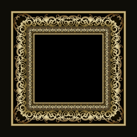 baroque pattern: Vintage vector gold picture frame for presentation