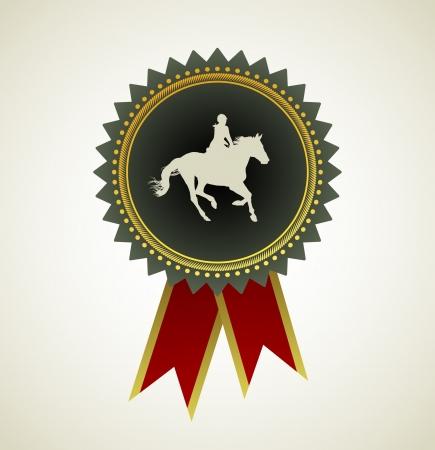 horseback riding: Horse Symbol Award Rosette Red Ribbon Icon Illustration