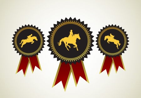 paddock: Horse Symbol Award Rosette Red Ribbon Icon Set