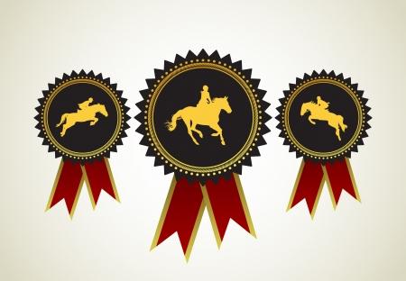 arabian horse: Horse Symbol Award Rosette Red Ribbon Icon Set