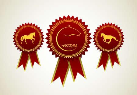 Horse Symbol Award Rosette Red Ribbon Icon Set Vector