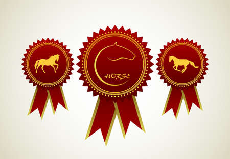 horse race: Horse Symbol Award Rosette Red Ribbon Icon Set