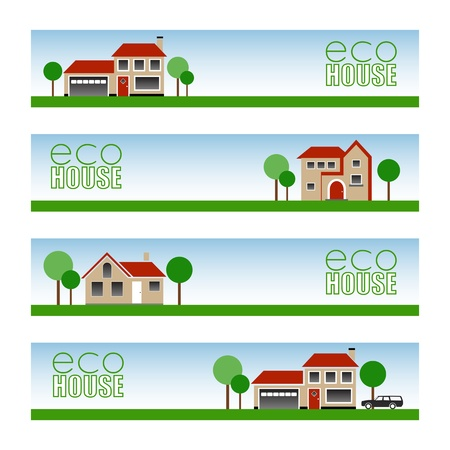 western town: Eco House Banners