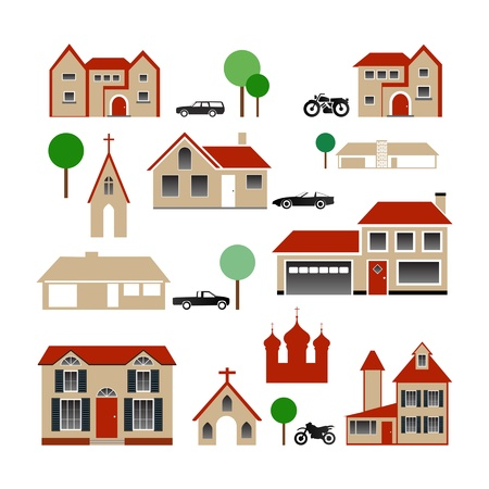 Collection of Various Buildings Vector