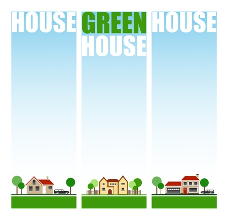 Eco House Banners Vector