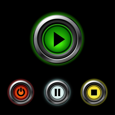 Play, pause, stop web buttons for website or app Stock Vector - 18733490