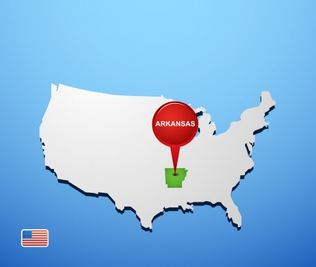 Arkansas on USA map Vector
