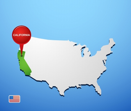California on USA map Stock Vector - 18733491