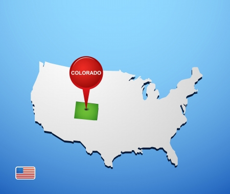Colorado on USA map Vector