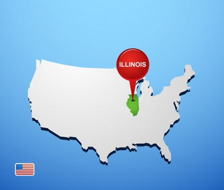 Illinois on USA map Vector