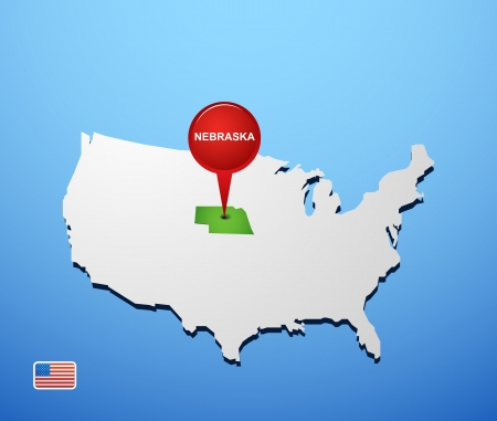 Nebraska on USA map Vector