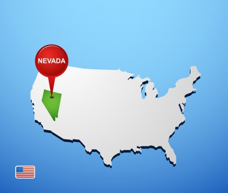 Nevada on USA map Vector
