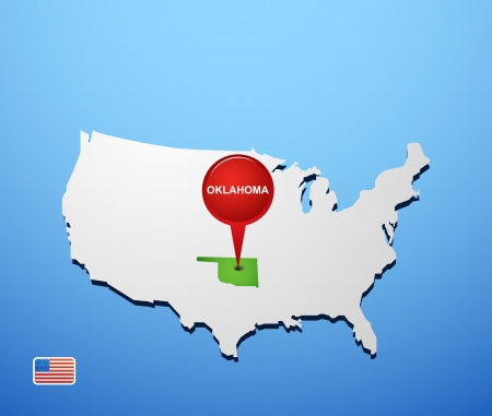 Oklahoma on USA map Vector
