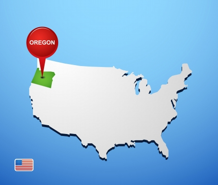 Oregon on USA map Vector