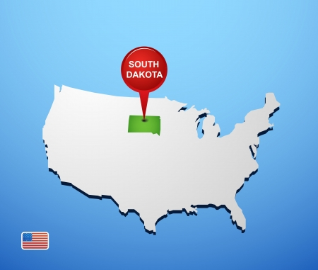 South Dakota on USA map Vector