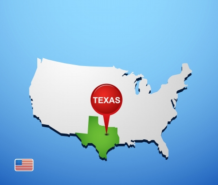 Texas on USA map Vector
