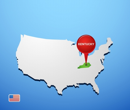 Kentucky on USA map Vector
