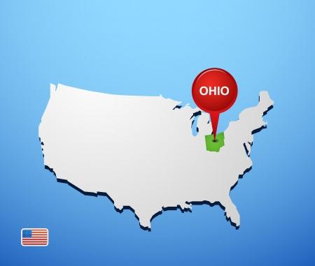 Ohio on USA map Vector
