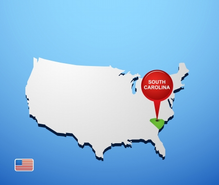 South Carolina on USA map Vector