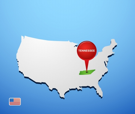 Tennessee on USA map Vector