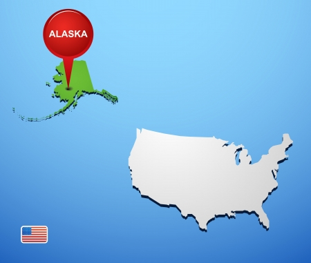 Alaska on USA map Vector