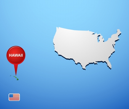 Hawaii on USA map Vector