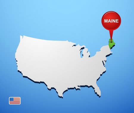 Maine on USA map Vector