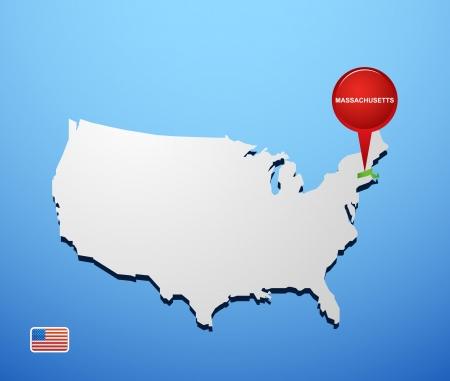 Massachusetts on USA map Vector