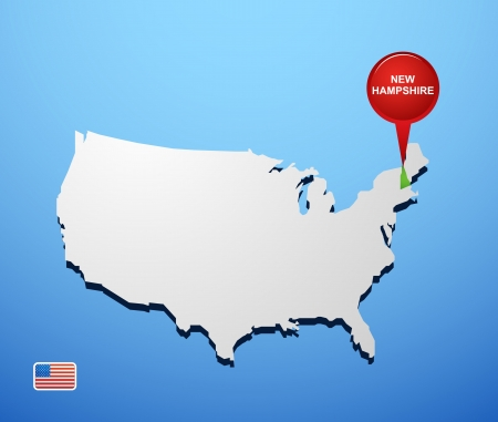 New Hampshire on USA map Vector