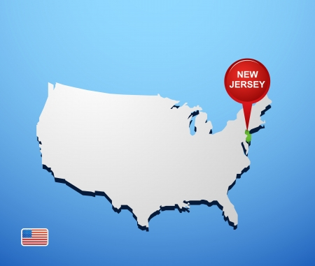New Jersey on USA map Stock Vector - 18733483